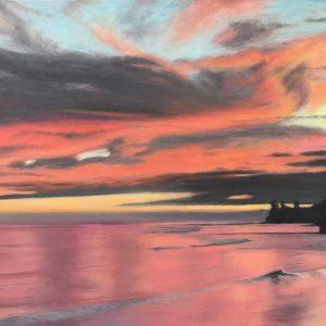 Capitola Pier Sunset, Denise Natanson-Marcus, Oil