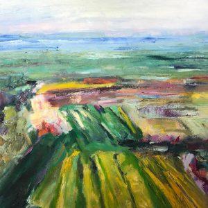 Farm Fields UC Santa Cruz, Barbara Gillingham, Oil