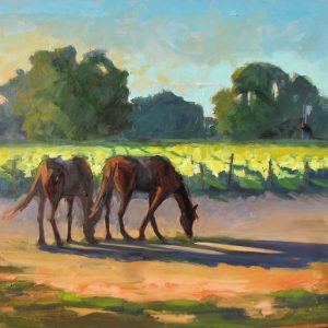 Horses and vineyard, Barbara Lawerence, Oil on canvas