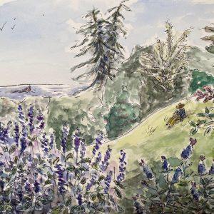 North Monterey Bay from Chaminade, Martine Mahoudeau, Watercolor