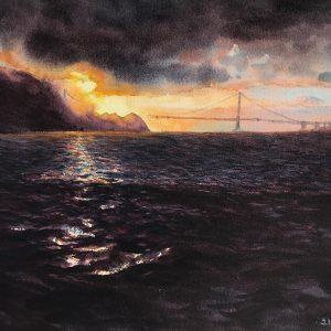 Sunrise in the Headlands, Jeff Ishikawa, Watercolor