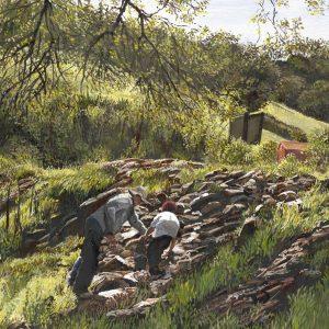 Two Figures Climbing Rocks at Castle Creek, Judith Corning, Oil