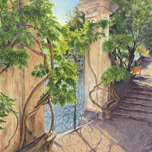 Lake Como Gate by Cathe Pleasant, Watercolor