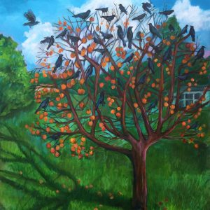 Crow Tree by Donna Thompson, Acrylic on canvas, 2020