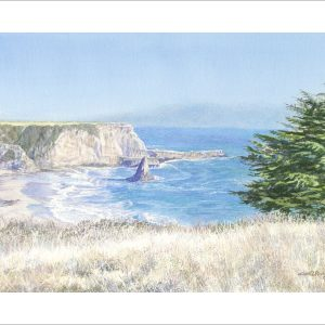 Davenport Beach by Carol L Riddle, Watercolor, 2019