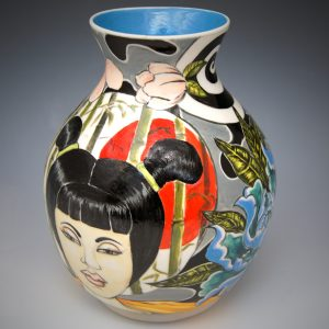 Underglaze painted Porcelain Vase _ Peace Daruma by Daniel E. Osorio, Ceramics, 2019