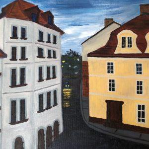 Prague square by Christine Z. Mason, Acrylic, 2019