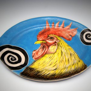Hand Painted Underglaze painted Porcelain Rooster Platter by Daniel E. Osorio, Ceramics, 2018