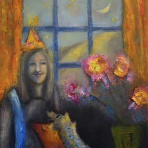 Singing hats and party flowers by Suzy Norris, Oil