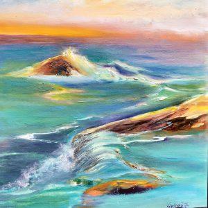 Stillness Soaking into Rocks by Sydney Zentall, Oil, 2020