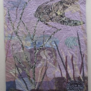 Violet Seascape by Ann Baldwin May, Fiber, art quilt
