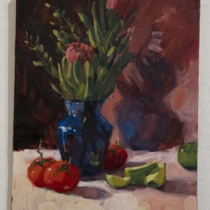 #13 Protea with Tomatoes and Limes by Barbara Bailey-Porter, Oil on Canvas