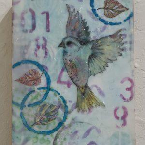 #29 Free Bird by Carol Heenan, Encaustic collage