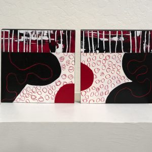 #46 Study in Black & Red by Cher Roberts, Acrylic on panel diptych