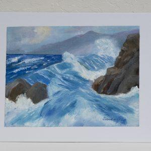 #48 Rocky Splash by Claudia Gray, Plein Air, Original Oil