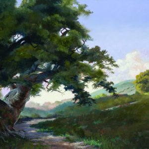 Misty Oaks II by Ed Penniman, Oil on Canvas (Gold Frame)