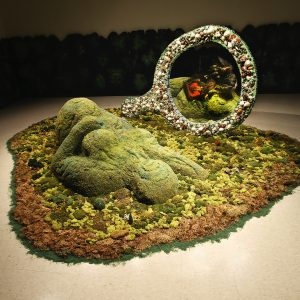 """<b>Amalia Mesa-Bains</b> <i>Mother Nature/view from the front</i>, installation,  5.76"""" x 8.64, 1997"""