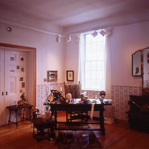 "<b>Amalia Mesa-Bains</b> <i>Sor Juana Inez de la Cruz's Library (overview)</i>, installation,  11"" x 7, 1994"