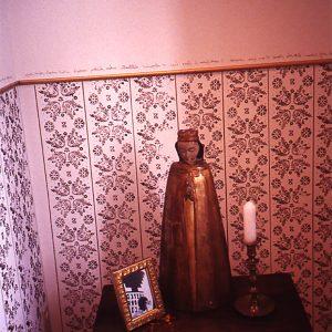 "<b>Amalia Mesa-Bains</b> <i>Sor Juana Inez de la Cruz's Library (detail)</i>, installation,  11"" x 7, 1994"