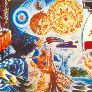 "<b>Guillermo Aranda</b> <i>La Dualidad/Mural</i>, acrylics, 16 ft x 40 ft"", 1970"