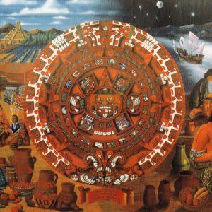 <b>Ralph James D'Oliveira</b> <i>Aztec Calendar Hollister Drive-In Market</i>, acrylics, 8ft x 20ft, 1983