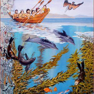 """<b>Ralph James D'Oliveira</b> <i>Chumash Maritime  Association Poster</i>, acrylics, 30"""" x 24"""", 2005"""