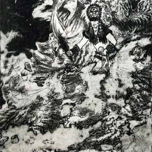 "<b>Guillermo Aranda</b> <i>Walking with Sage</i>, intaglio print, 18.5"" x 11.5"", 2005"