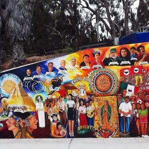 <b>Guillermo Aranda</b> <i>Historical Mural/Chicano Park</i>, acrylic, 14 ft x 70 ft, 2012