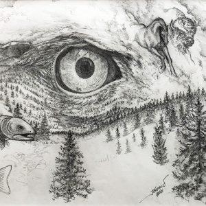 "<b>Guillermo Aranda</b> <i>Eye Scape</i>, pencil, 9"" x 12"", 2013"