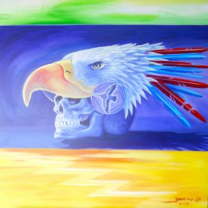 "<b>Guillermo Aranda</b> <i>Those That Have Passed</i>, acrylics, 18"" x 24"", 2014"