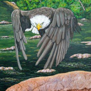 "<b>Ralph James D'Oliveira</b> <i> Bald eagle</i>, acrylics, 24"" x 18"", 2017"