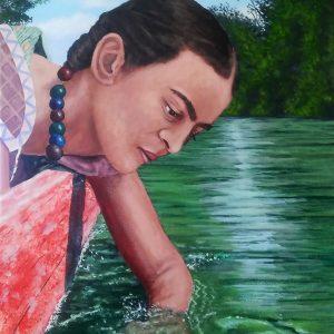 "<b>Ralph James D'Oliveira</b> <i>Frida gliding down the river</i>, acrylics, 20"" x 16"", 2017"