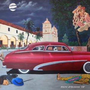 "<b>Ralph James D'Oliveira</b> <i>Huitzlipotzli</i>, acrylics, 36"" x 48"", 2019"