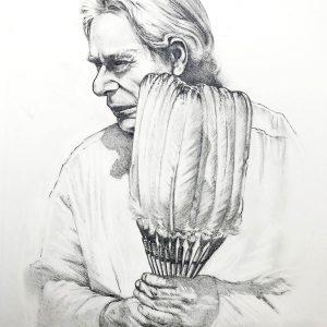 "<b>Guillermo Aranda</b> <i>Crow</i>, pencil, 11"" x 9"", 2020"