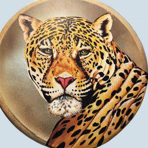 "<b>Guillermo Aranda</b> <i>Jaguar Drum</i>, acrylics on drumhead, 14"" x 14"", 2020"
