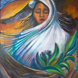 "<b>Carmen León</b> <i>White Buffalo Woman</i>, acrylic painting, 36"" x 24"", 1995"