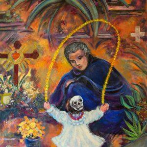 "<b>Carmen León</b> <i>Cempasuchils Portal</i>, acrylic painting, 36"" x 28"", 1997"