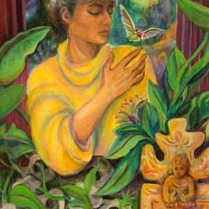 """<b>Carmen León</b> <i>Sueño del Colibri</i>, acrylic painting, 36"""" x 28"""", 1998"""