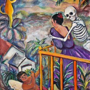 "<b>Carmen León</b> <i>Calavera y su Novia</i>, acrylic painting, 36"" x 28"", 2001"