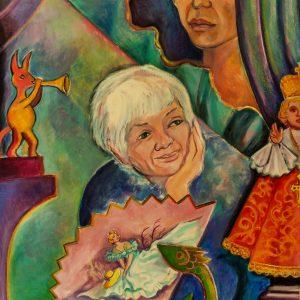 "<b>Carmen León</b> <i>Mother We Dream</i>, acrylic painting, 36"" x 28"",1986"