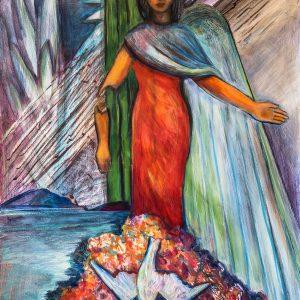 "<b>Carmen León</b> <i>The Question</i>, acrylic painting, 37"" x 29"", 2017"