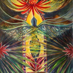 "<b>Carmen León</b> <i>The Portal</i>, acrylic painting, 36"" x 28"", 2018"