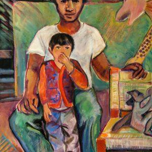 """<b>Carmen León</b> <i>The Chair Maker</i>, acrylic painting, 36"""" x 28"""",1987"""