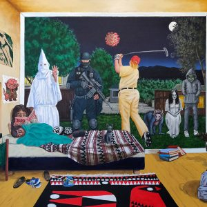 "<b>Ralph James D'Oliveira</b> <i>New Bogeyman </i>, acrylics, 36"" x 48"", 2020"