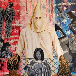 "<b>Ralph James D'Oliveira</b> <i>Red White blue</i>, acrylics, 36"" x 48"", 2020"