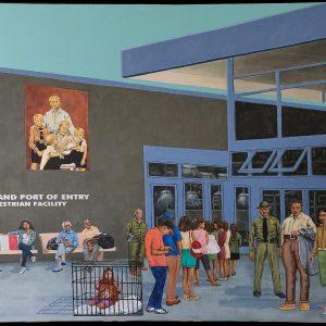 "<b>Ralph James D'Oliveira</b> <i>Welcome to Amerika</i>, acrylics, 36"" x 60"", 2020"