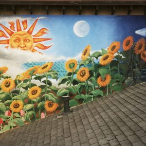 <b>Ralph James D'Oliveira</b> <i>Sunflower Mural</i>, acrylics, 8ft x 20ft, 1993