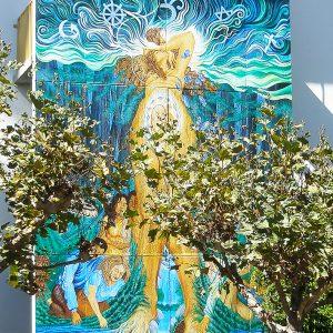 <b>Ralph James D'Oliveira</b> <i>Maternal Tree</i>, acrylics, 20ft x 12ft, 1999