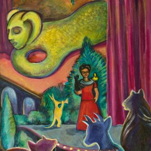 "<b>Carmen León</b> <i>Teatro de los Espiritus</i>, acrylic painting, 36"" x 28"",2004"