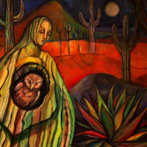 "<b>Carmen León</b> <i>Cactus Woman</i>, acrylic painting, 27"" x 34"", 2003"